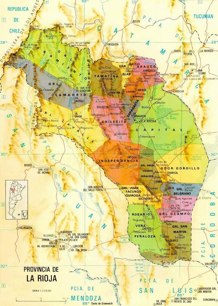 Mapa de la Provincia de La Rioja, Argentina