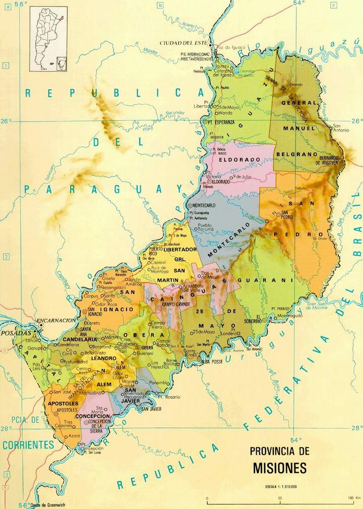 Mapa de la Provincia de Misiones, Argentina