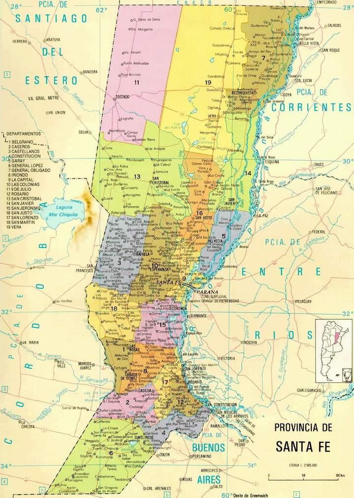 Mapa de la Provincia de Santa Fe, Argentina