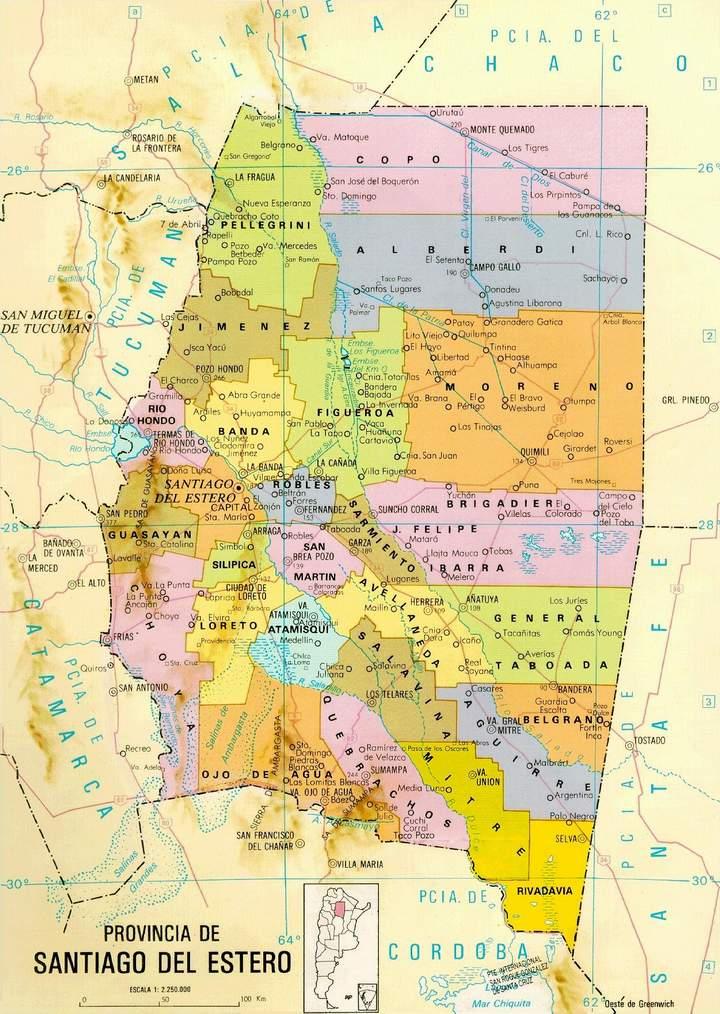 Mapa de la Provincia de Santiago del Estero, Argentina