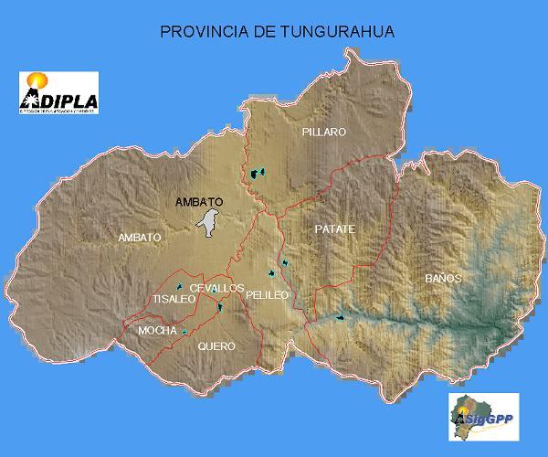Mapa de la Provincia de Tungurahua, Ecuador