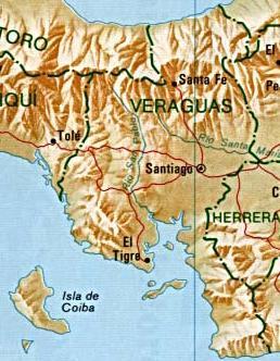 Mapa de la Provincia de Veraguas, República de Panamá