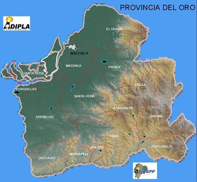 El Oro Province Map, Ecuador