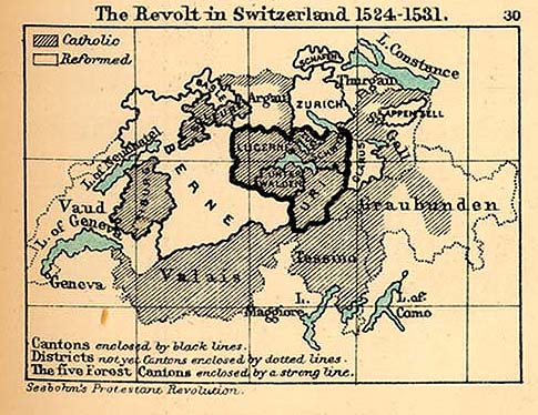 Map of the Revolt in Switzerland, 1524 - 1531