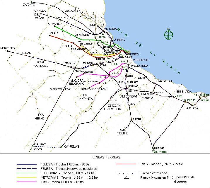Mapa de la Red Ferroviaria Metropolitana de Buenos Aires, Argentina
