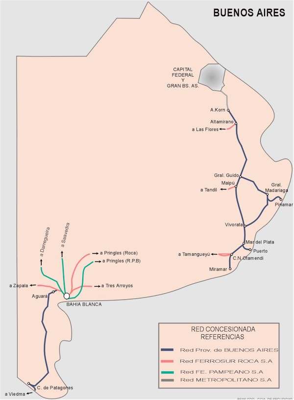 Buenos Aires Prov. Railway Network Map, Argentina