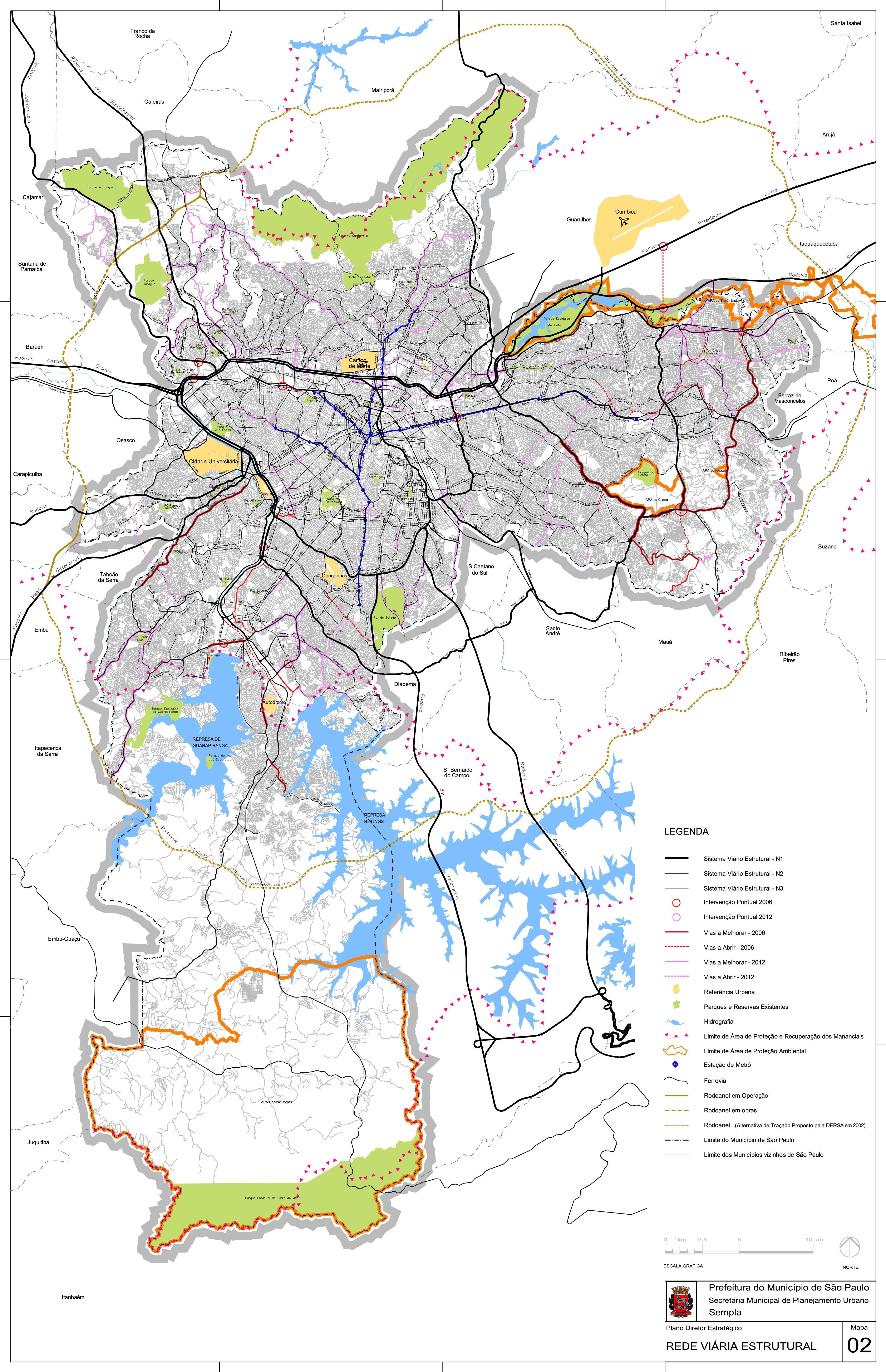 São Paulo City Street & Road Network Map, Brazil