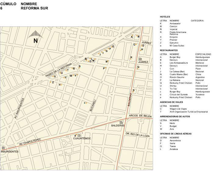 Mapa de la Reforma (Sur), Mexico D.F.