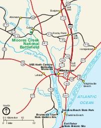 Moores Creek National Battlefield Area Map, North Carolina, United States