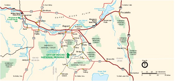 Mapa de la Región de City of Rocks National Reserve, Idaho, Estados Unidos