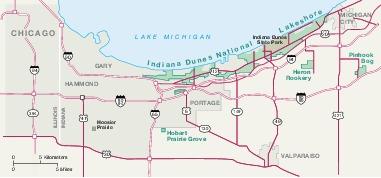 Area Map of Indiana Dunes National Lakeshore, Indiana, United States