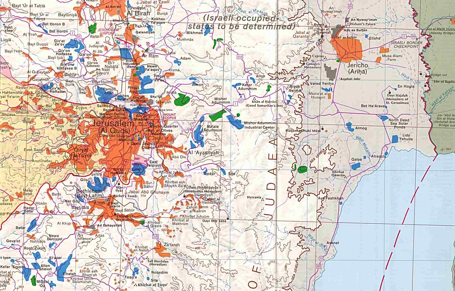 Mapa de la Región de Jerusalén-Jericó, Israel