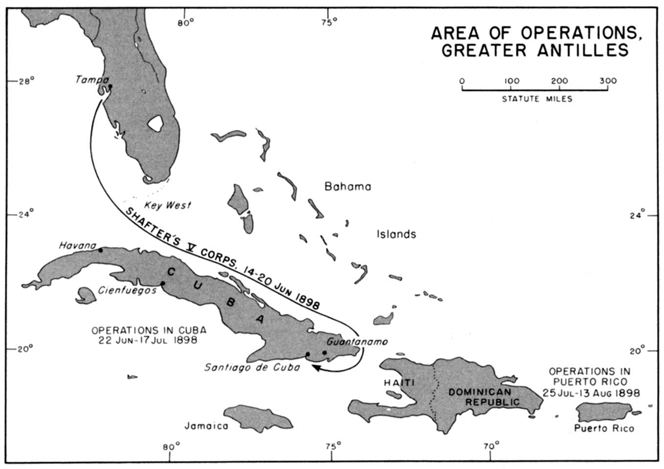 Greater Antilles Area Operations Map, Spanish - American War 1898