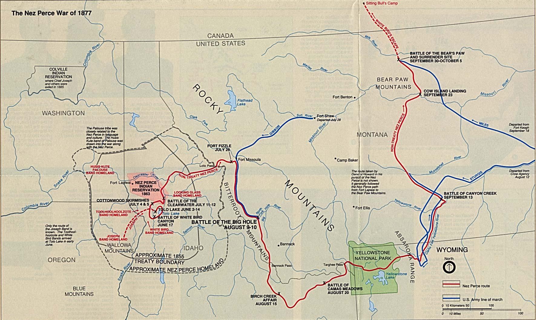 Mapa de la Región del Campo de Batalla Nacional Big Hole (Guerra de los Nez Perce 1877) , Montana, Estados Unidos