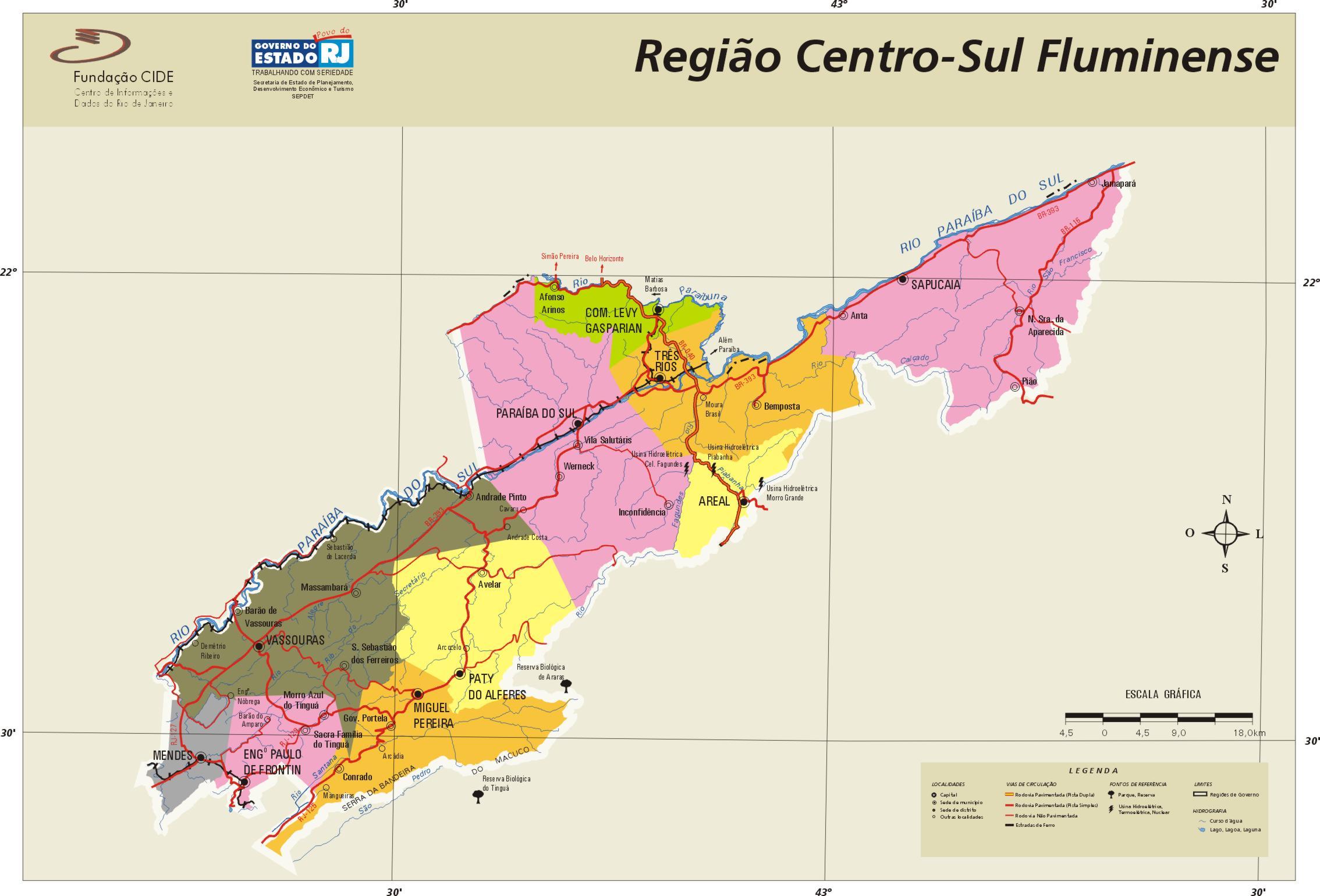 Center-South Region Map, Rio de Janeiro State, Brazil