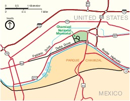 Chamizal National Memorial Area Map, Texas, United States