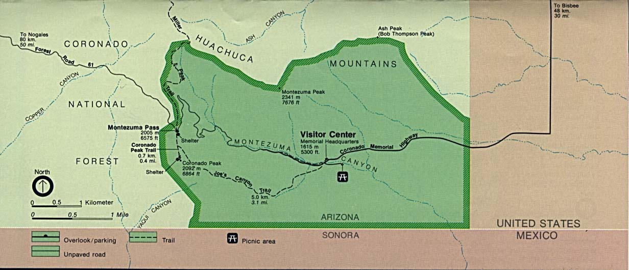 Coronado National Memorial Area Map, Arizona, United States