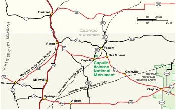 Mapa de la Región del Monumento Nacional Capulin Volcano, Nuevo México, Estados Unidos