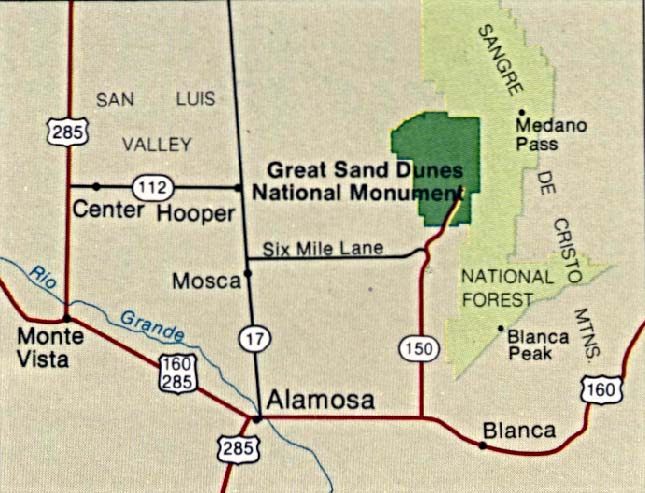 Great Sand Dunes National Monument Area Map, Colorado, United States