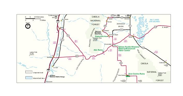Mapa de la Región del Monumento Nacional Salinas Pueblo Missions, Nuevo México, Estados Unidos