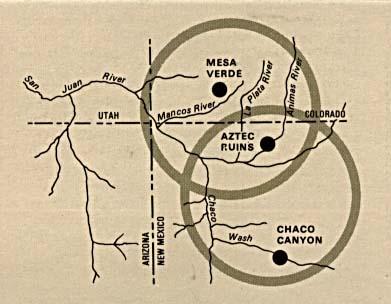 Mapa de la Región del Monumento Nacional de las Ruinas Aztecas, Nuevo México, Estados Unidos