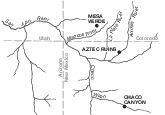 Area Map of Aztec Ruins National Monument, New Mexico, United States