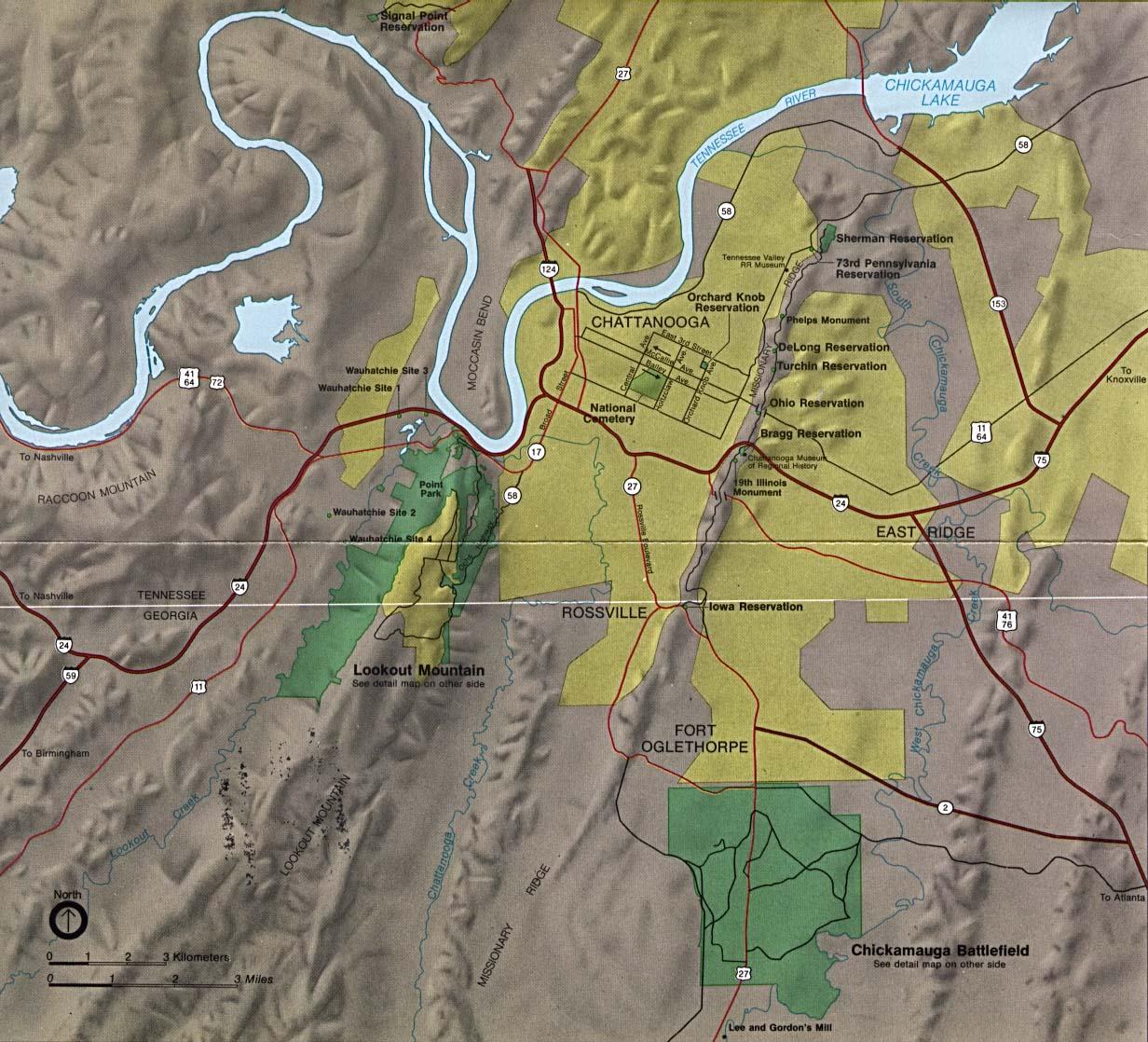 Mapa de la Región del Parque Militar Nacional de Chickamauga y Chattanooga, Georgia / Tennessee, Estados Unidos