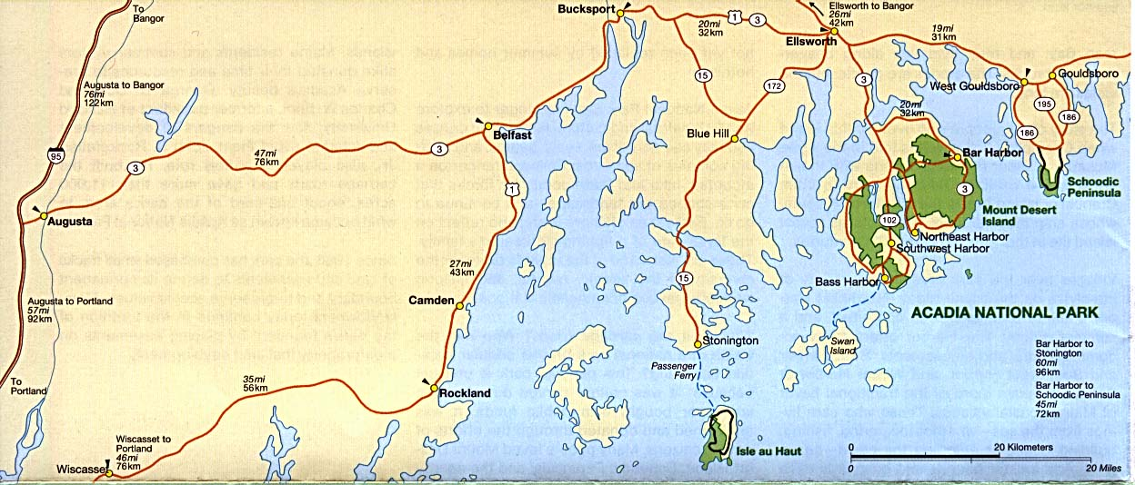Area Map of Acadia National Park, Maine, United States