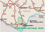 Big Bend National Park Area Map, Texas, United States