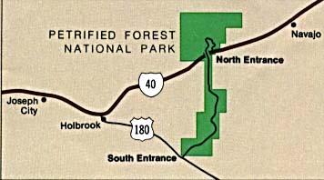 Mapa de la Región del Parque Nacional Bosque Petrificado, Arizona, Estados Unidos