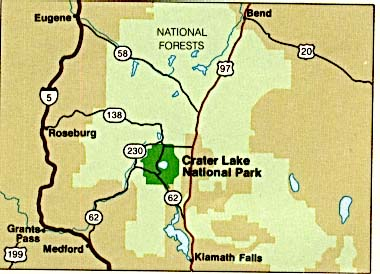 Area Map of Crater Lake National Park, Oregon, United States