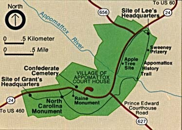 Area Map of Appomattox Court House National Historic Park, Virginia, United States
