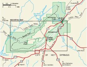 Mapa de la Región del Parque Nacional Hot Springs, Arkansas, Estados Unidos