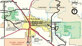 Mapa de la Región del Parque Nacional Saguaro, Arizona, Estados Unidos