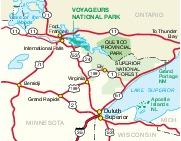 Mapa de la Región del Parque Nacional Voyageurs, Minnesota, Estados Unidos