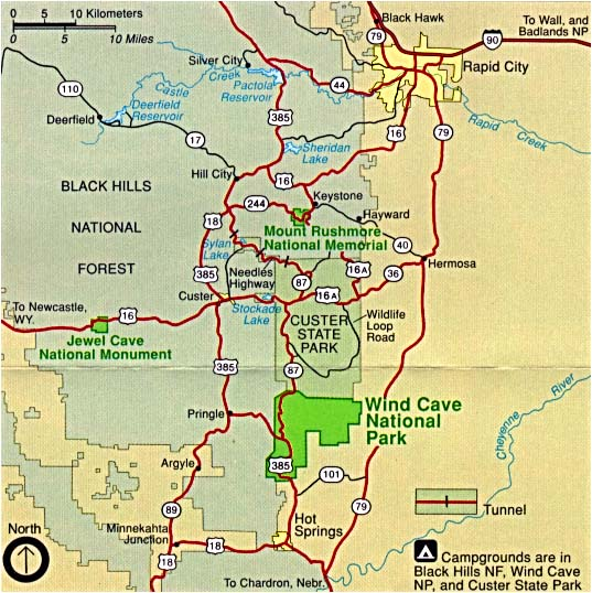 Mapa de la Región del Parque Nacional Wind Cave, Dakota del Sur, Estados Unidos
