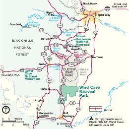 Wind Cave National Park Area Map, South Dakota, United States