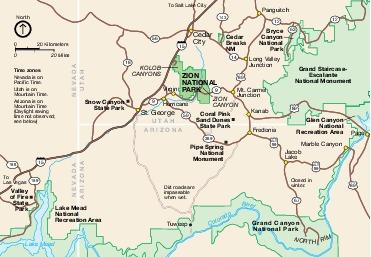 Mapa de la Región del Parque Nacional Zion, Utah, Estados Unidos