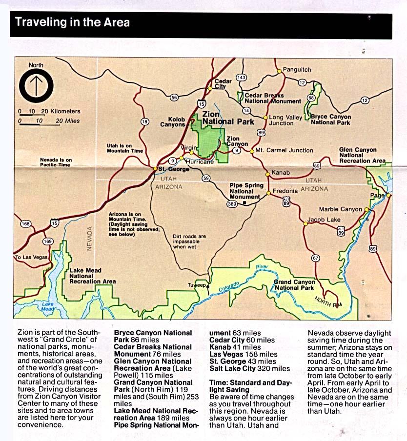 Zion National Park Area Map, Utah, United States