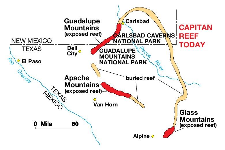 Mapa de la Región del Parque Nacional las Montañas de Guadalupe, Texas, Estados Unidos