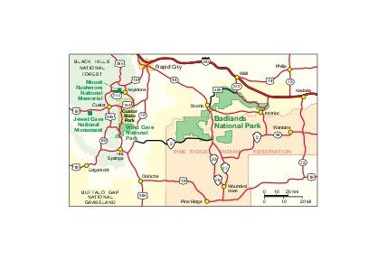 Mapa de la Región del Parque Nacional los Badlands, Dakota del Sur, Estados Unidos
