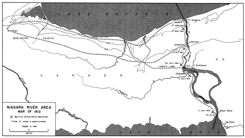Mapa de la Región del Río Niágara, Guerra Anglo-Estadounidense de 1812