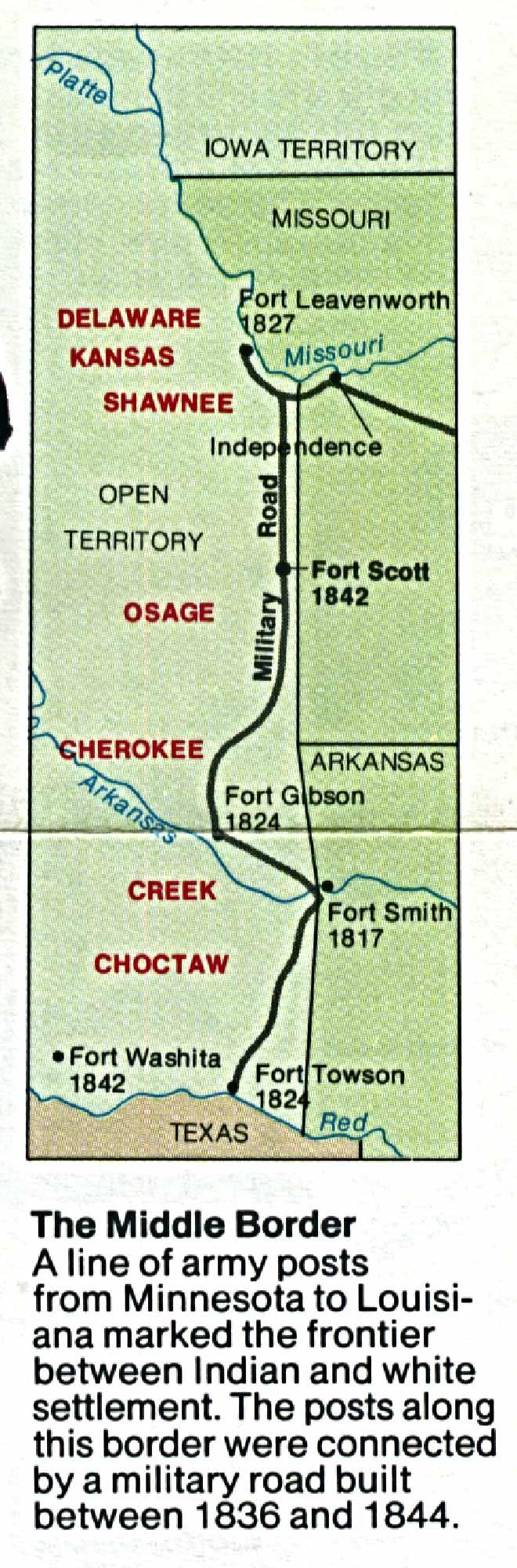 Mapa de la Región del Sitio Histórico Nacional Fort Scott, Kansas, Estados Unidos