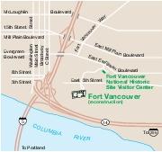 Mapa de la Región del Sitio Histórico Nacional Fort Vancouver, Washington, Estados Unidos