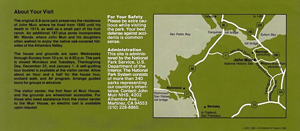 John Muir National Historic Site Area Map, California, United States