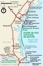 Mapa de la Región del Área Marina Costera Protegida de de Padre Island, Texas, Estados Unidos