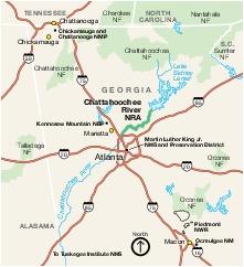 Mapa de la Región del Área Nacional de Recreación Chattahoochee River, Georgia, Estados Unidos