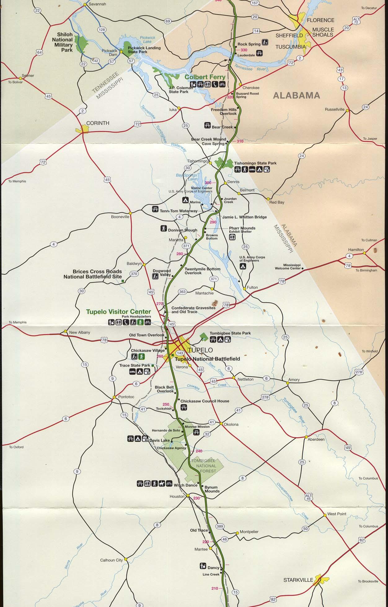 Mapa de la Ruta Escénica Nacional Natchez Trace Parkway, Desde Dancy, Misisipi to Rock Spring, Alabama, Estados Unidos