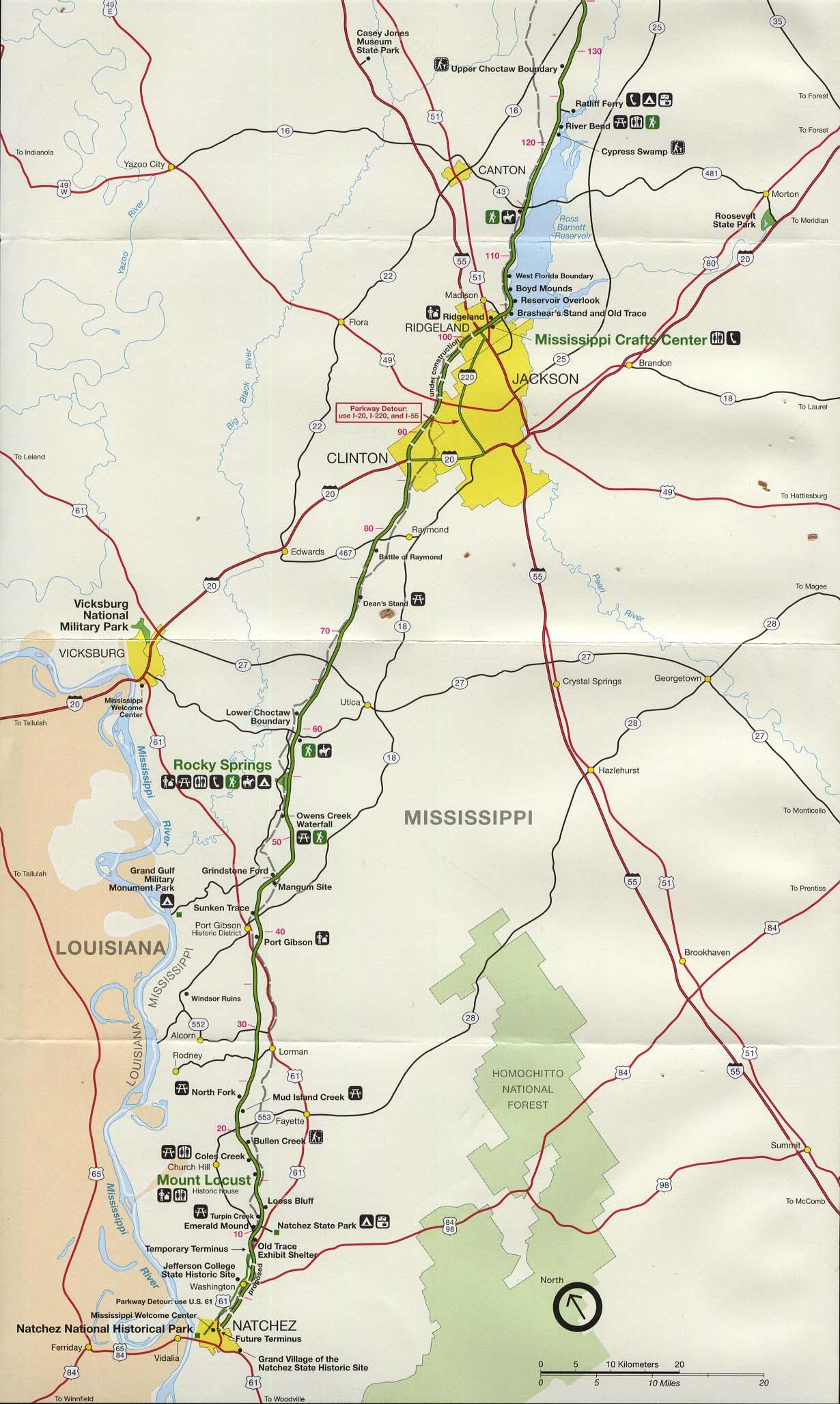 Mapa de la Ruta Escénica Nacional Natchez Trace Parkway, Desde Natchez Hasta Jackson, Misisipi, Estados Unidos