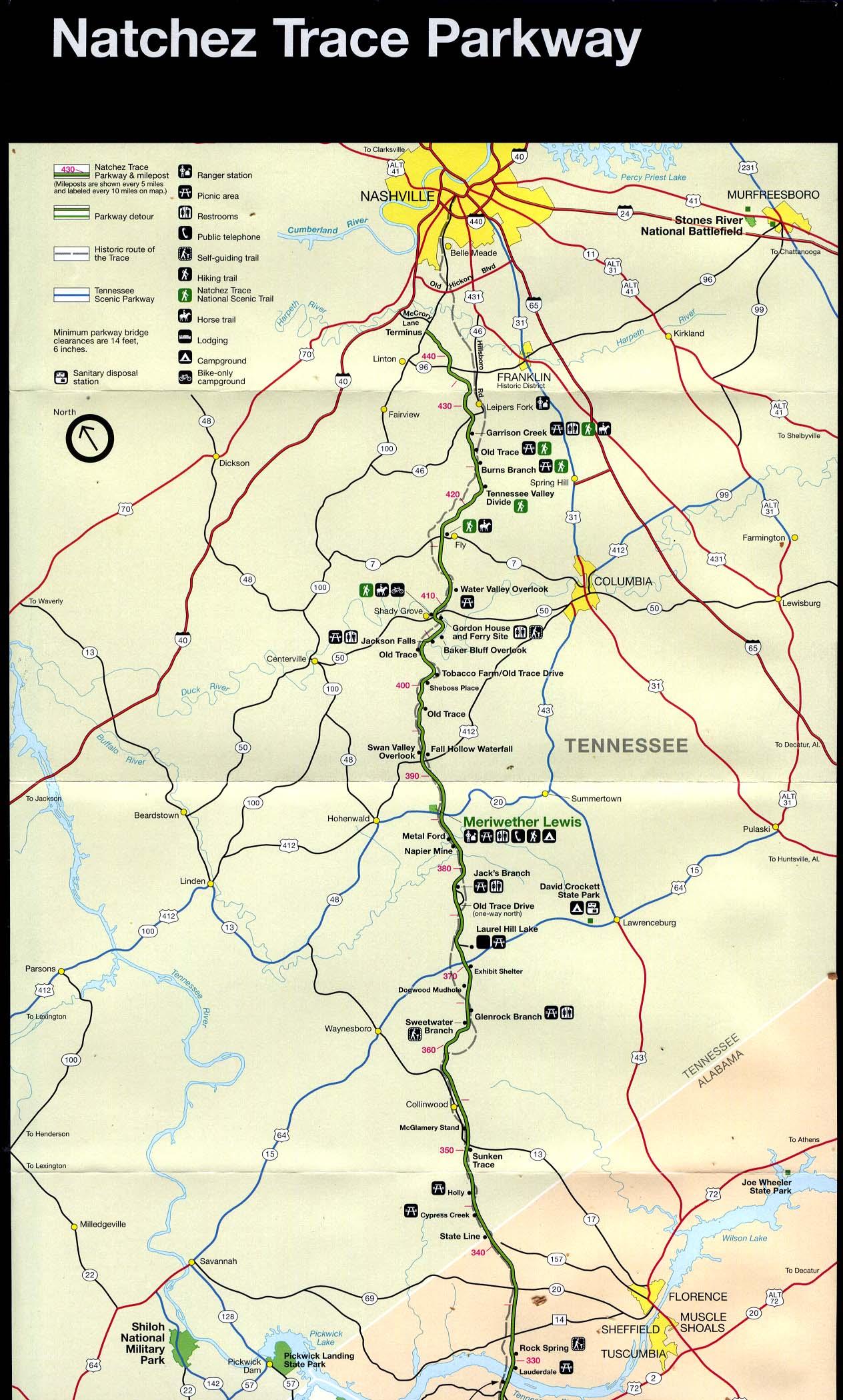 Mapa de la Ruta Escénica Nacional Natchez Trace Parkway, Rock Spring, Alabama Hasta Nashville, Tennessee, Estados Unidos